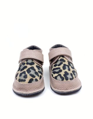 Ghete din piele naturala barefoot Kinder Nude-animal print