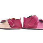 Ghete din piele naturala barefoot Kinder Minnie roz-fucsia