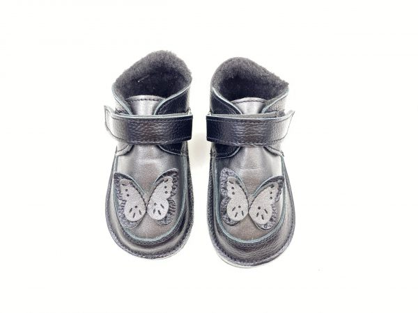 Ghete din piele naturala barefoot Kinder butterfly negru/antracit