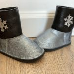 Cizme din piele naturala Barefoot Kinder - argintiu/negru