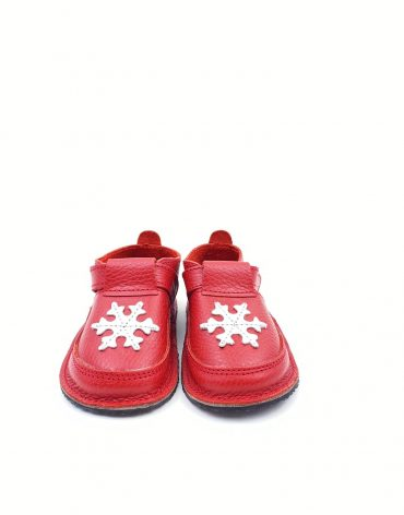 Pantofi barefoot din piele naturala Kinder fulg-rosu
