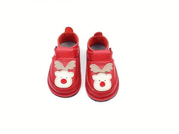 Pantofi barefoot din piele naturala Kinder ren-rosu