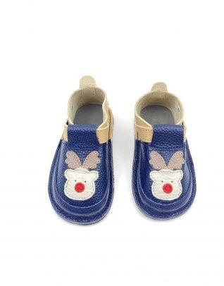 Pantofi barefoot din piele naturala Kinder ren-bleumarin/crem