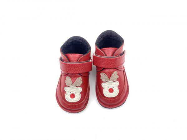 Ghete din piele naturala barefoot Kinder ren - rosu