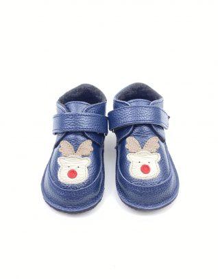 Ghete din piele naturala barefoot Kinder ren - albastru
