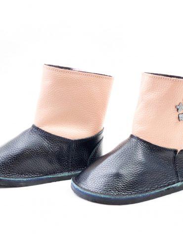 Cizme din piele naturala Barefoot Kinder - negru-roz
