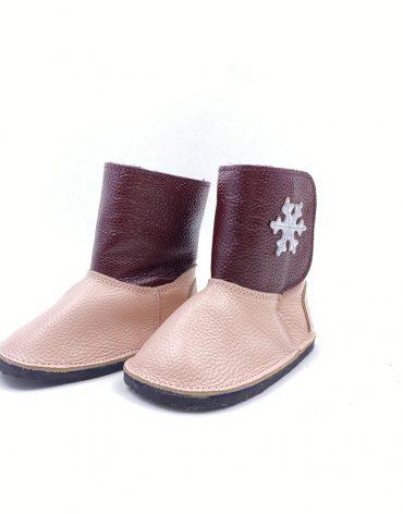 Cizme din piele naturala Barefoot Kinder - roz/bordo