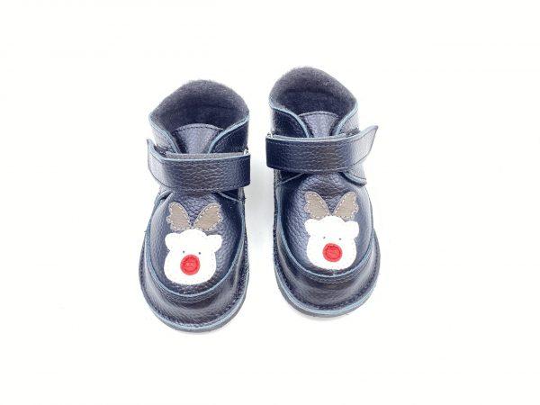 Ghete din piele naturala barefoot Kinder negru-ren