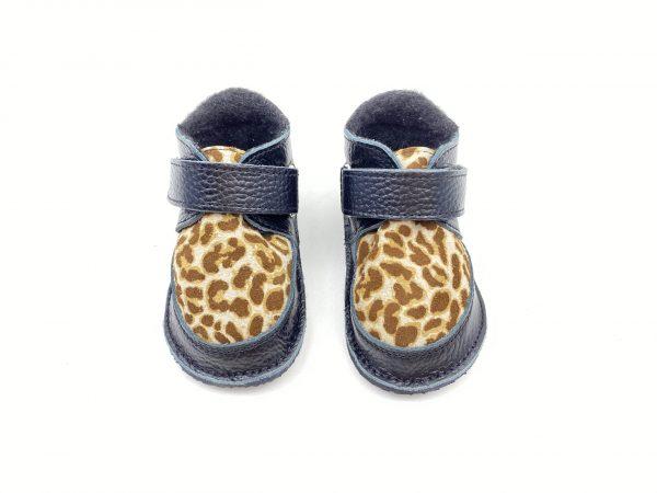 Ghete din piele naturala barefoot Kinder negru-animal print