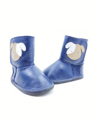 Cizme din piele naturala Barefoot Kinder - albastru-catel