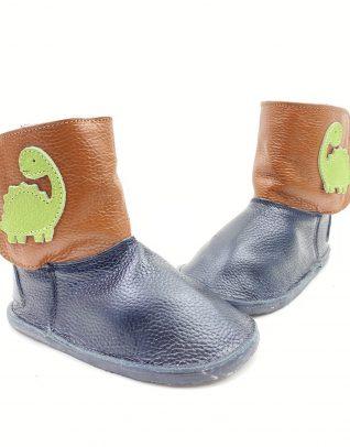 Cizme din piele naturala Barefoot Kinder - negru/maro