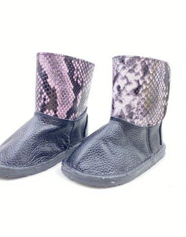 Cizme din piele naturala Barefoot Kinder - negru/snake print