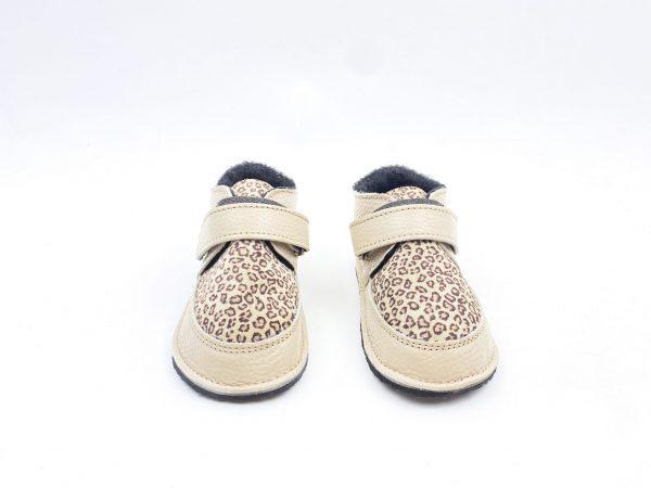 Ghete din piele naturala barefoot Kinder crem-animal print