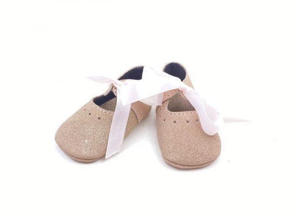 Pantofi bebe din piele naturala Kinder - roz glitter