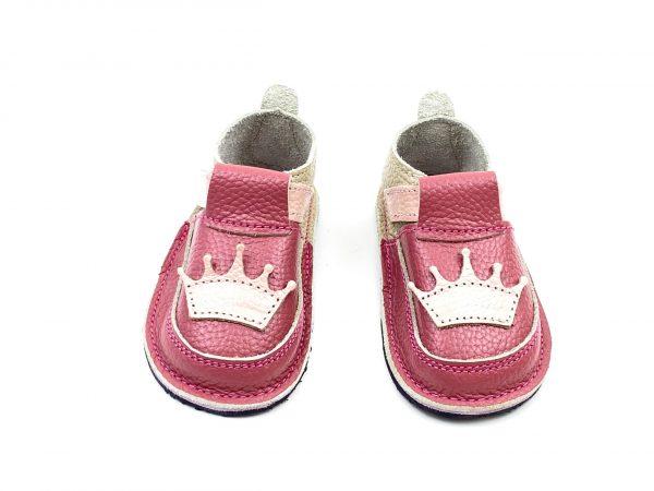 Pantofi barefoot din piele naturala Kinder Coronita crem/ roz plamaniu