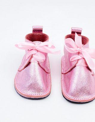Pantofi bebe din piele naturala Kinder - roz