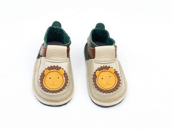 Pantofi barefoot din piele naturala Kinder Leu crem/verde