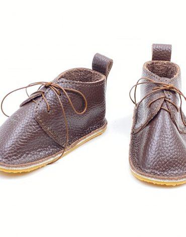 Pantofi bebe din piele naturala Kinder - maro