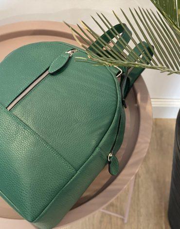 Rucsac din piele naturala Macaron Trio verde