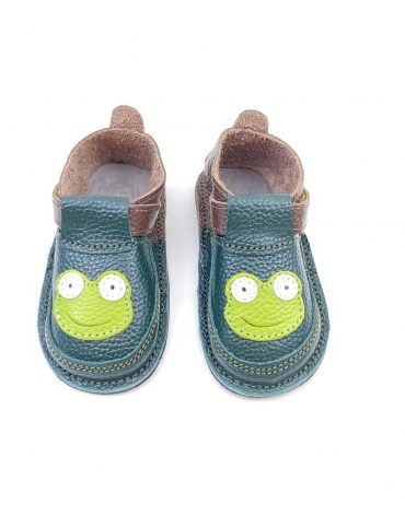 Pantofi barefoot din piele naturala Kinder broscuta verde/maro