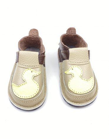Pantofi barefoot din piele naturala Kinder ratusca crem/maro