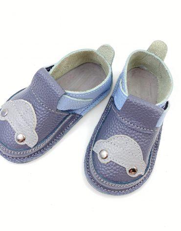 Pantofi barefoot din piele naturala Kinder masinuta gri/bleu