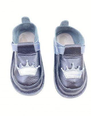 Pantofi barefoot din piele naturala Kinder princess negru/argintiu