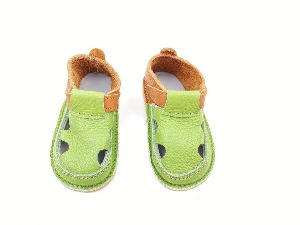 Sandale barefoot din piele naturala Kinder maro-verde