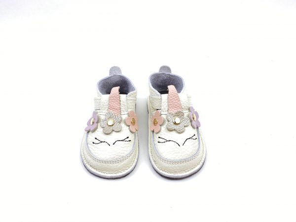 Pantofi barefoot din piele naturala Kinder unicorn alb