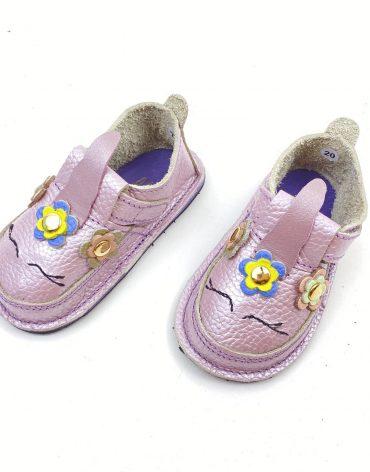 Pantofi barefoot din piele naturala Kinder unicorn lila