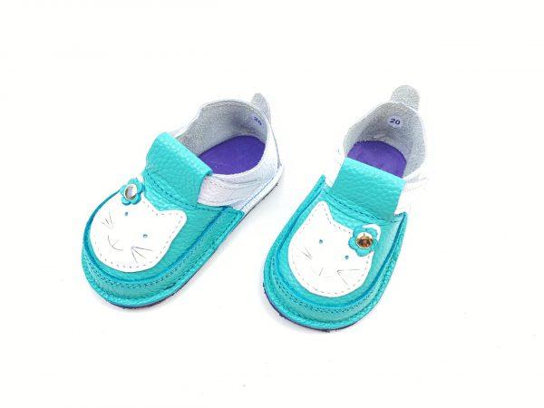 Pantofi barefoot din piele naturala Kinder alb turcoaz pisicuta