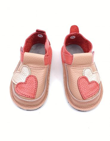 Pantofi barefoot din piele naturala Kinder love roz/corai