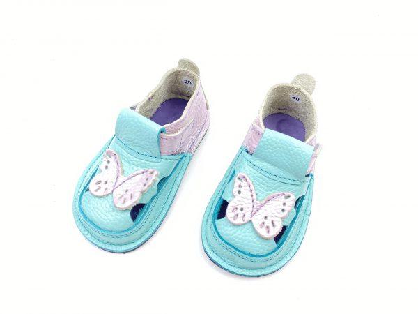 Sandale barefoot din piele naturala Kinder turcoaz-lila Fluturas