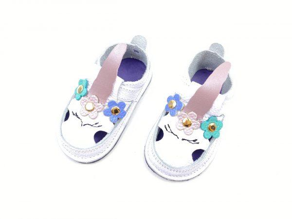Sandale barefoot din piele naturala Kinder alb Unicorn
