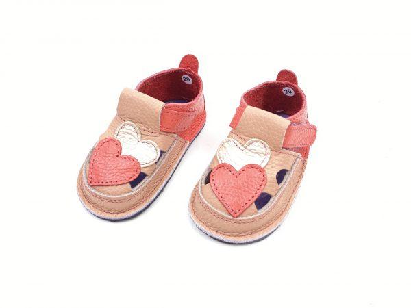 Sandale barefoot din piele naturala Kinder corai-roz Inimi