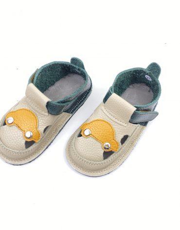 Sandale barefoot din piele naturala Kinder crem-verde Masinuta