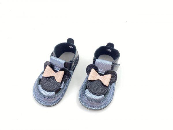 Sandale barefoot din piele naturala Kinder argintiu-negru Minnie