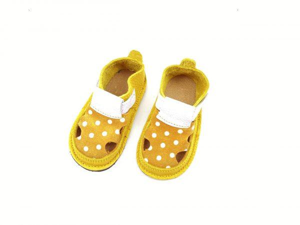 Sandale barefoot din piele naturala Colectia Bebe Spring-Summer 2021 ocru-bulinute