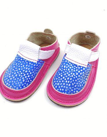 Pantofi barefoot din piele naturala Colectia Bebe Spring-Summer 2021 Roz zmeura-bleo bulinute