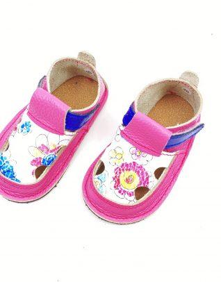 Sandale barefoot din piele naturala Colectia Bebe Spring-Summer 2021 roz zmeura Floricele
