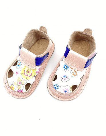 Sandale barefoot din piele naturala Colectia Bebe Spring-Summer 2021 roz pudrat Floricele