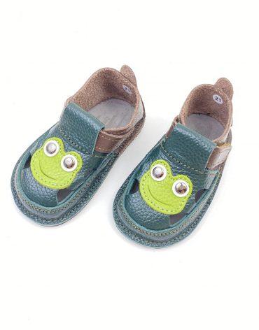 Sandale barefoot din piele naturala Kinder verde-maro Broscuta