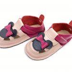 Sandale barefoot din piele naturala Kinder roz-fucsia Minnie