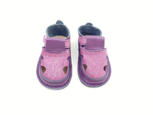 Sandale barefoot din piele naturala Kinder mov-glitter