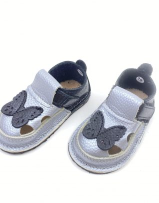 Sandale barefoot din piele naturala Kinder negru-argintiu Fluturas