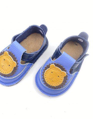 Pantofiori din piele naturala barefoot Puf navy-bleo Leu