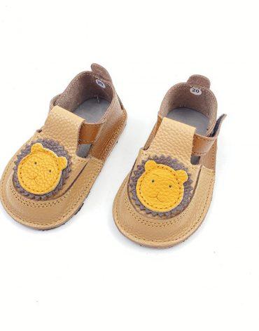 Pantofiori din piele naturala barefoot Puf maro -capucino Leu