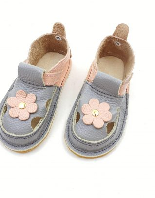 Sandale barefoot din piele naturala Kinder gri-roz pudrat Floricica
