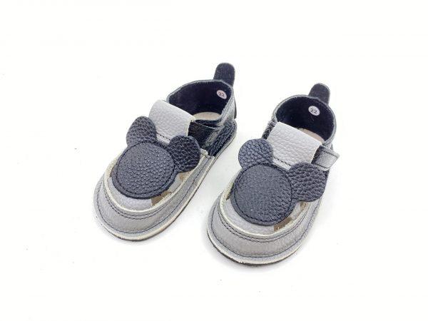 Sandale barefoot din piele naturala Kinder negru-gri Mickey