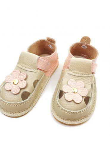 Sandale barefoot din piele naturala Kinder roz pudrat-crem Floricica